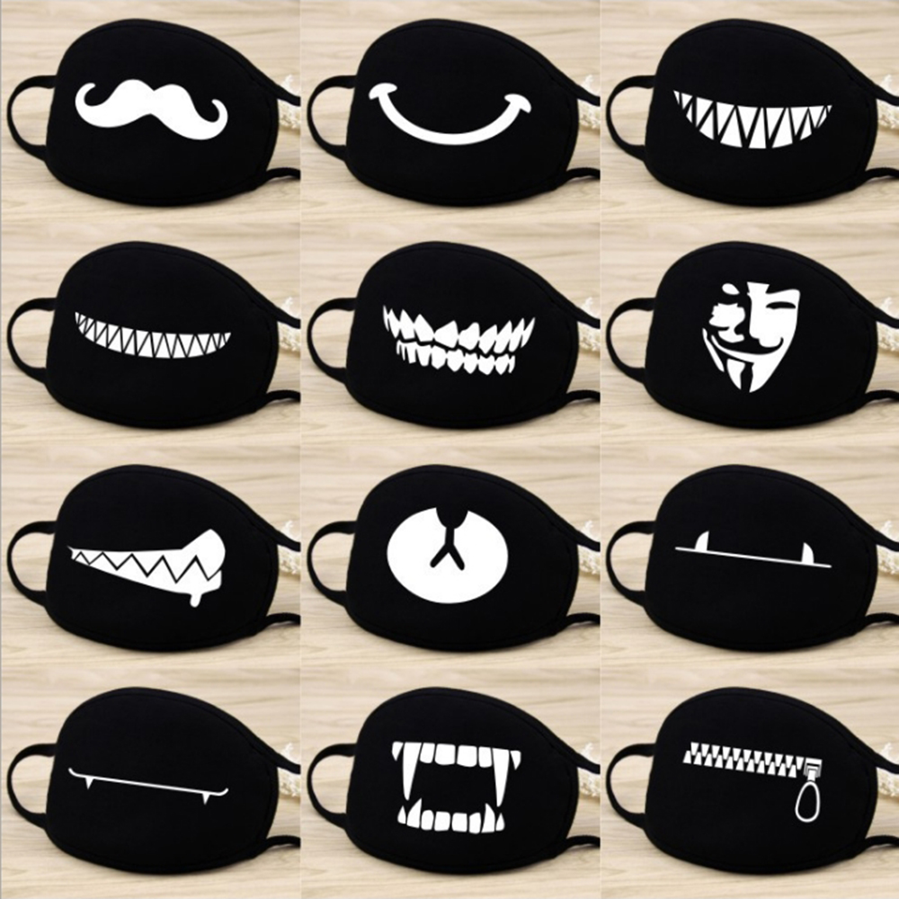 Cute Pure Cotton Mouth Mask Scarf Cartoon Anime Printing Washable Breathable Cartoon Mouth Cover Mask Reusable Face Mouth Mask