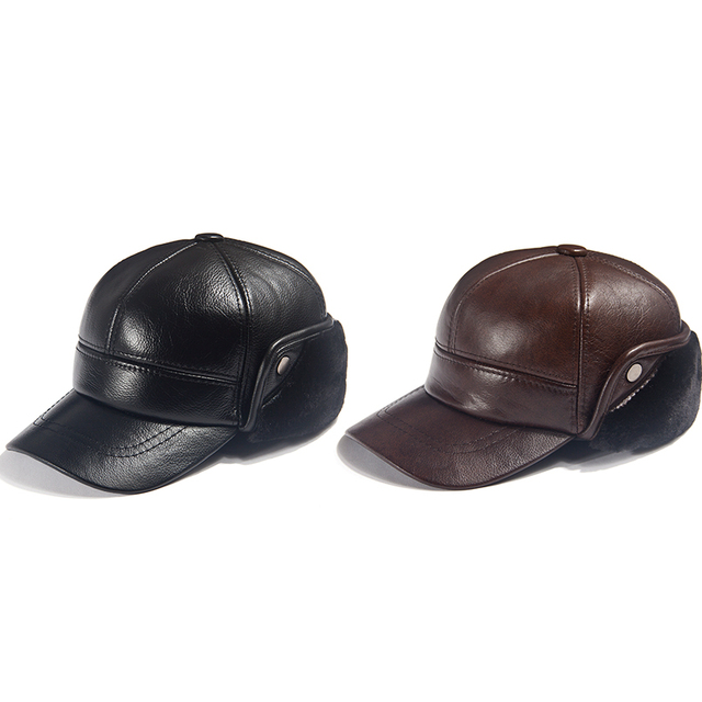 Men Winter Leather Hat Real Fur Hat Cowhide Baseball Cap Bomber Hats Russian Hat Men Dad Father Thick Tab Luxury Winter Caps 6