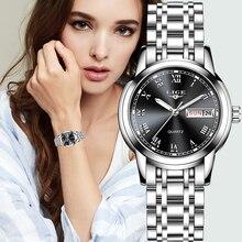 ליגע אופנה נשים שעונים גבירותיי למעלה מותג יוקרה נירוסטה לוח שנה ספורט קוורץ נשים שעון עמיד למים צמיד שעון