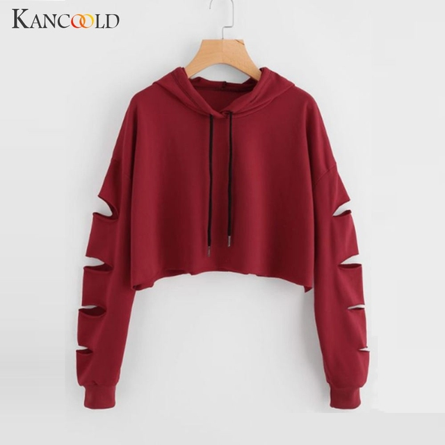 KANCOOLD Ladies Autumn Winter Letter Print Pullover Fashion Sweatshirt Casual Hoodie Blouse Crop Tops Female Women s Long Sleeve
