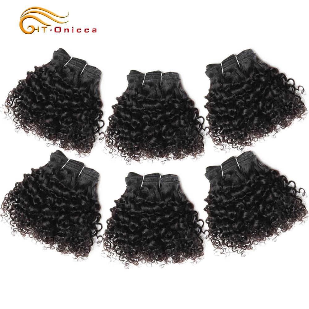 Бразильские волнистые вьющиеся волосы пряди 8 дюймов человеческие волосы для наращивания 6 Пряди Remy Funmi волосы Flexi Pixie Pissy богемные кудрявые
