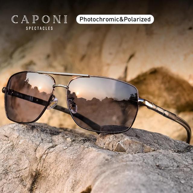 CAPONI فوتوكروميك نظارات الرجال الاستقطاب الكلاسيكية ماركة تصميم مكافحة راي ظلال القيادة مربع نظارات شمسية الرجال UV400 CP8724