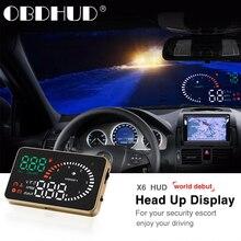 X6 Auto OBD2 II HUD Head Up Display 3 Zoll Überdrehzahl Warnung Windschutzscheibe Projektor System Auto Elektronische Tachometer spiegel