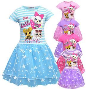 LOL сюрприз мультфильм кукла летняя девушка ребенок марля сетка кружева платье для принцессы в стиле пэчворк Детские вечерние на день рожден...