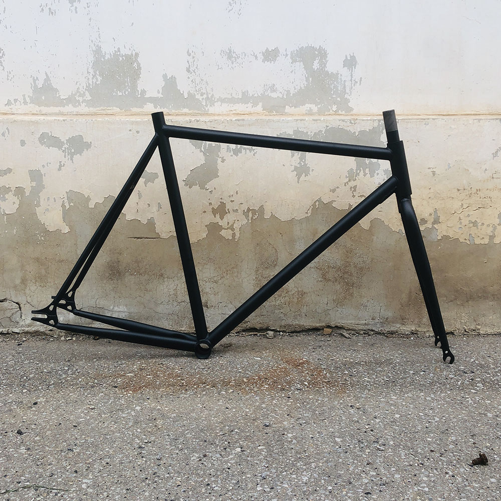 fixe <font><b>bike</b></font> <font><b>frame</b></font> 52cm 58cm black 700C vintage <font><b>bike</b></font> <font><b>frame</b></font> single bicycle <font><b>frame</b></font> <font><b>steel</b></font> with fork image