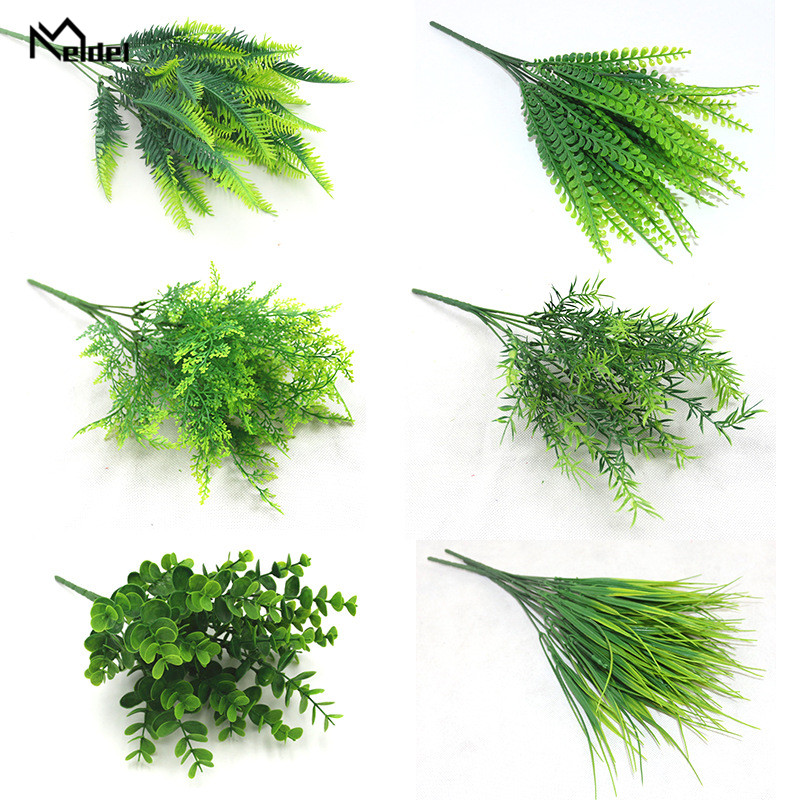 Meldel Artificial Plant 7 Forks Imitation Plastic Ferns Grass Green Leaves Fake Plants For Home Party Garden Outdoor Decorations
