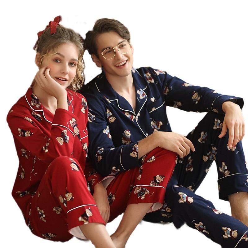 New Pijamas Hombre 100% Cotton Long Sleeves Lapel Men And Women Sleepwear Cute Bear's Print Cardigan Brand Pajamas Couple Pyjama