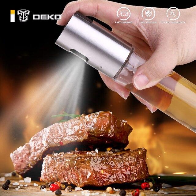 DEKO Vinegar BBQ Olive Oil Cooking Grill Dispenser Glass Stainless Steel Kitchen Cap Supplies Oil Spray Bottle 1