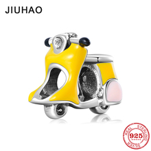 Hot 925 Sterling Silver Lovely women's motorcycle Yellow Charms Beads Fits Original Pandora Charms Bracelet Bangles DIY Jewelry hot 925 sterling silver colorful enamel dragonfly charms beads fits original pandora charms bracelet bangles diy jewelry making
