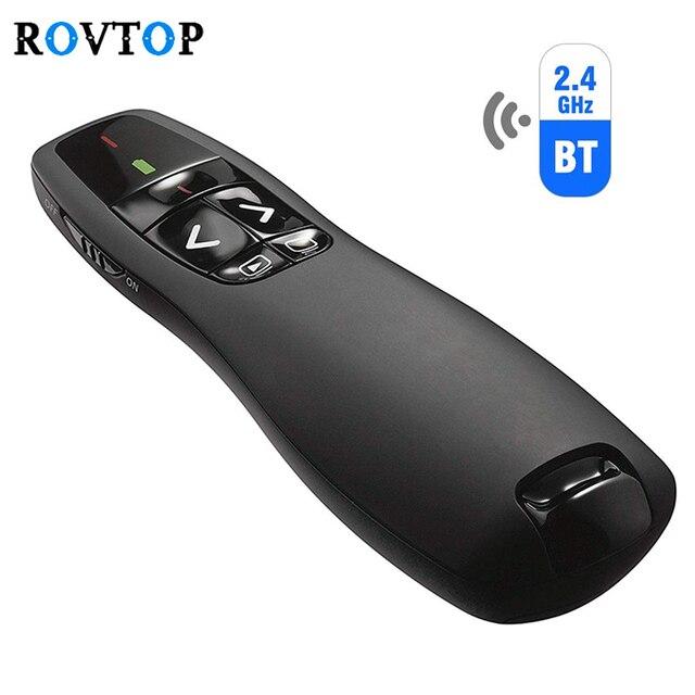 Rovtop 2.4GHz USB R400 لاسلكي باور بوينت التحكم عن بعد المحمولة المحمولة مقدم التحكم عن بعد قلم ليزر أحمر ل Powerpoint Z2