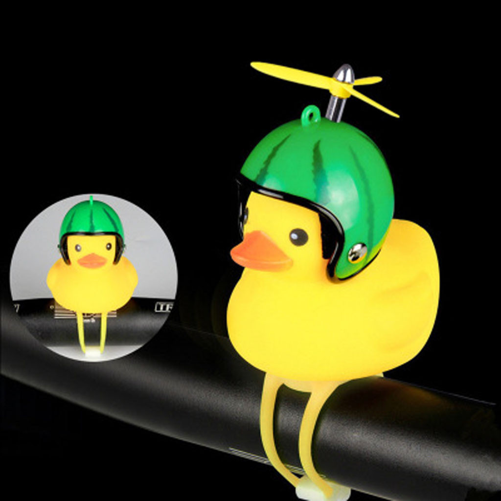 Cartoon Yellow Little Duck Shape Bicycle Bell Shining Mountain Bike Head Light