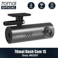 Controle de Voz inglês 70mai DVR Carro Cam 1S 1080HD 70mai 70Mai cam Night Vision Cam Traço 1S Wi-fi gravador Traço Cam 1 70 mai S