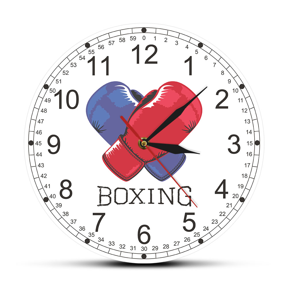 Blue And Red Boxing Gloves Modern Printed Wall Clock Living Room Clock Wall Watch Fighting Sports Wall Art Decor Gift For Boxers