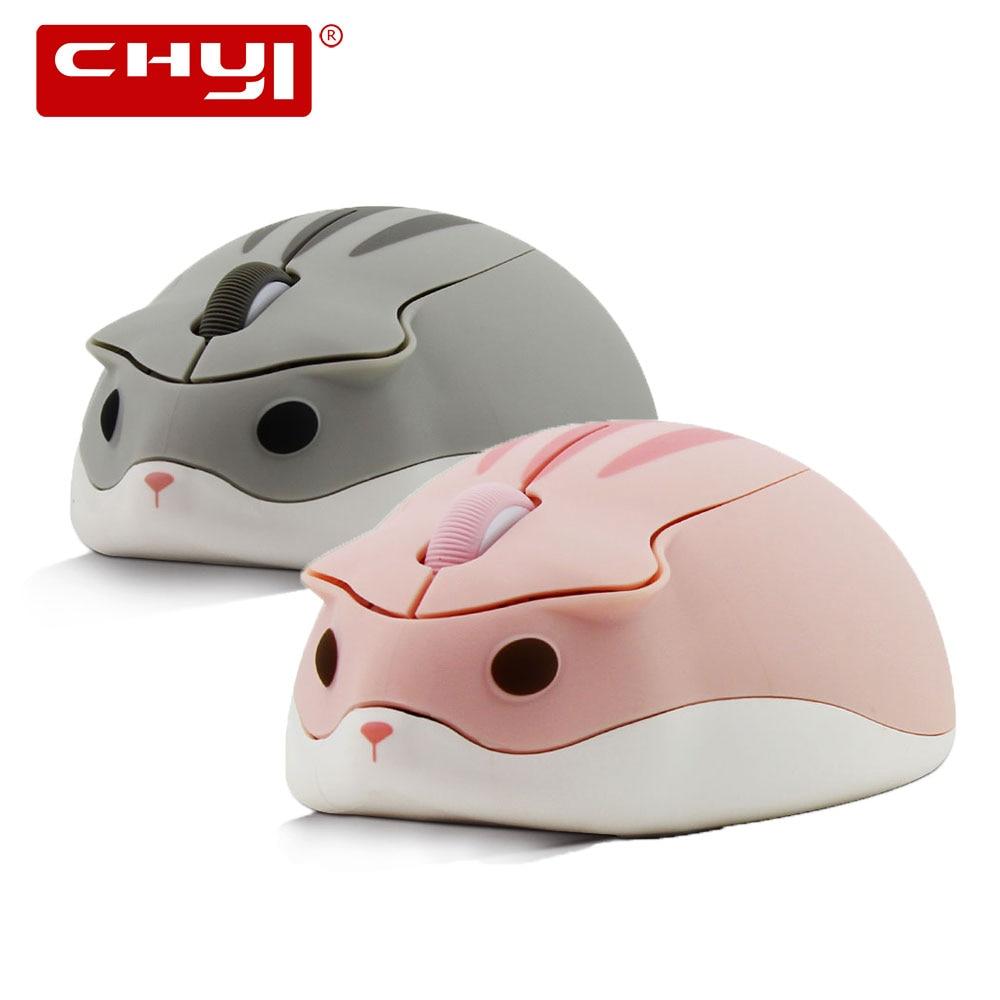 Милая мультяшная беспроводная мышь CHYI, Usb оптическая компьютерная мышь, портативная мини-мышь для ноутбука, розовый хомяк, дизайнерская мыш...