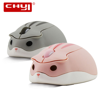 CHYI Cute Cartoon Wireless Mouse Usb Optical Computer Mouse Portable Mini Laptop Mause Pink Hamster Design Mice For Kids Macbook