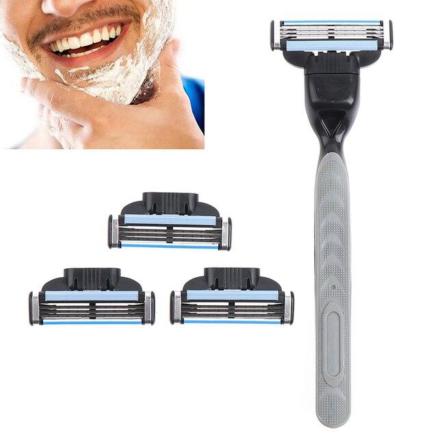 4pcs Razor Blade With 1 Razor Handle Cassette Shaving Blade For Men Face 4-Layer Blades Compatible For Mache 3 Machine 1