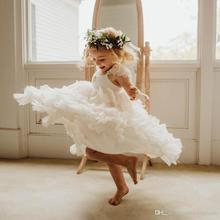 Lovely A Line Tiered Flower Girls Dresses For Weddings Beaded Tulle Toddler Pageant Gowns Floor Length Kids Prom Dress цена 2017