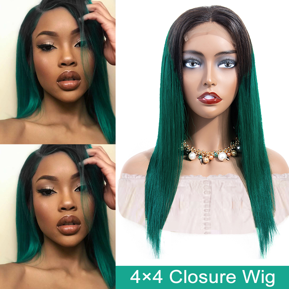 Sexay Green 4x4 Lace Closure Wig 1B/Green Ombre Human Hair Wigs For Women 4*4 Straight Closure Wig Malaysian Hair 150 Density