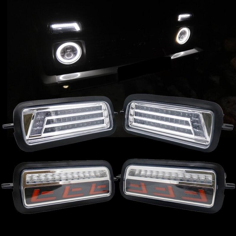 2020 для Lada Niva 4X4 1995 светодиодный DRL Противотуманные фары с Запуск поворотник Функция аксессуары для стайлинга автомобилей светодиодный повор...