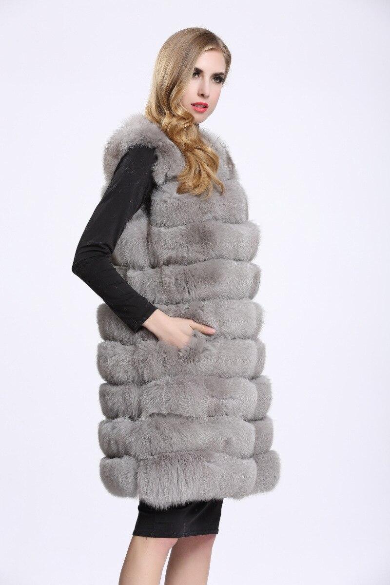 Image 3 - Medium And Long Fashion Fox Fur Vest Womens Winter Fur Coat Vest  Artificial Fur Fuake  Jackets Plus Size Overcoat S 3XLFaux Fur   -