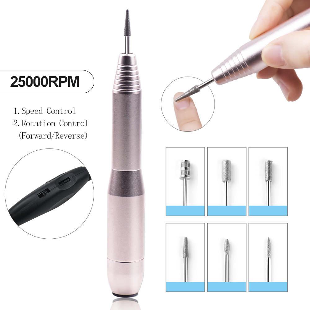 Manicure Machine 25000RPM Nail Drill Machine With Forward Reverse Rotation Manicure Pedicure Kit Electric Nail File With Cutter