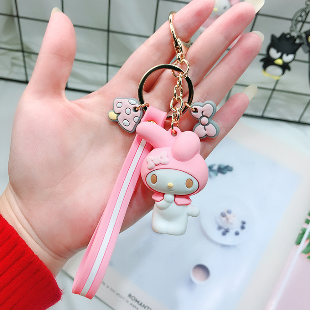 2019 3D Cute Cartoon Hello Kitty Keychians KT Cat Key Chains Charm Bags Pendant Accessories Animals Key Ring For Women Girls