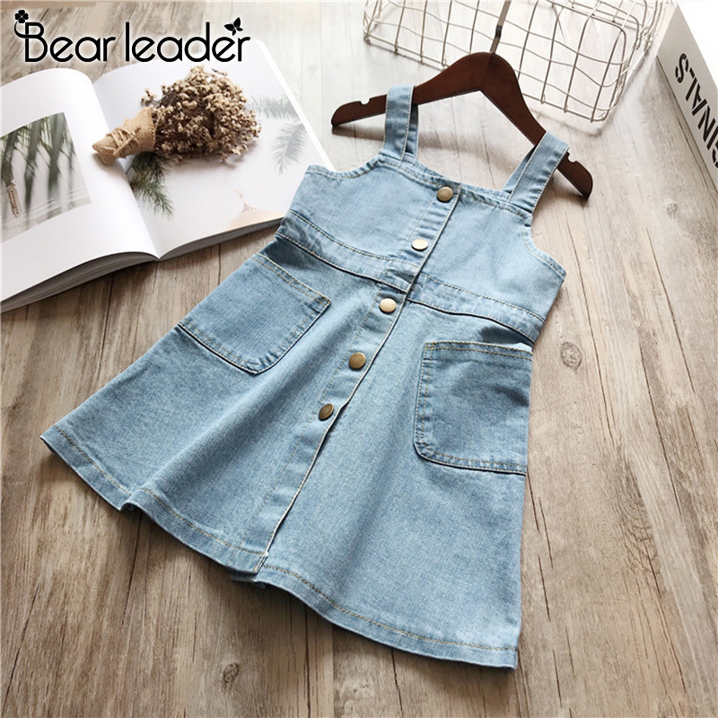 Bear Leader Girls Denim Dress New Summer Kids Casual Dresses Sleeveless Blue Dress Children Clothing Button Sweet Vestidos 3 7Y