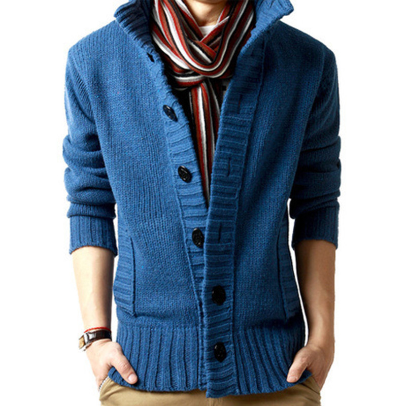 Zogaa 2019 Winter Thick Sweater Mens Cardigan Slim Fit Jumpers Knitwear Solid Color Warm Sweater Coat Cardigans Men Clothing