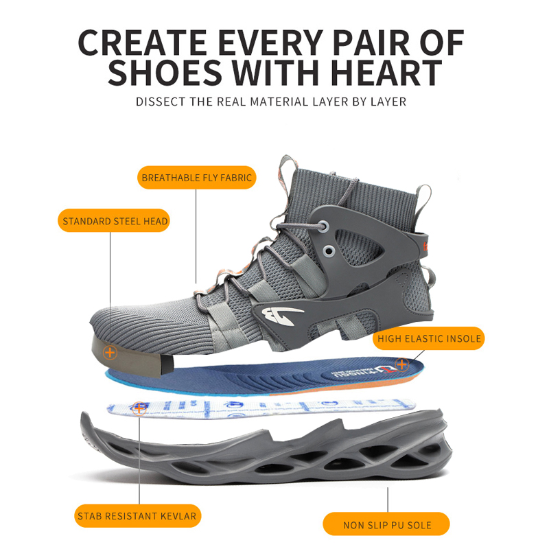 2021 Male Work Boots Indestructible Safety Shoes Men Steel Toe Shoes Puncture-Proof Work Sneakers Male Shoes Adult Work Shoes 5