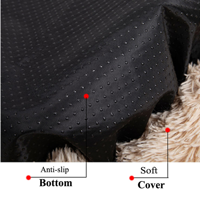 Long Plush Calming Pet Bed for Cat or Dog Round Plush Dog Mat Cats House Nest Soft Dog Basket Pet Cushion Portable Pets Supplies 5