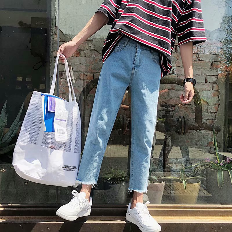 Spring Summer New Style Burrs Jeans Men's Korean-style Trend Students Casual Versatile Capri Pants Loose Straight Pants