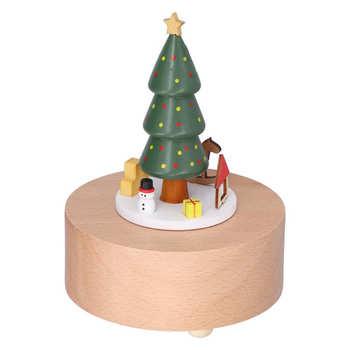 Sztuczne rośliny sztuczne rośliny drewniane pozytywka choinka Deer Cart pozytywka klasyczne mechaniczne rzemiosło drewniane zabawki do domu tanie i dobre opinie CN (pochodzenie)
