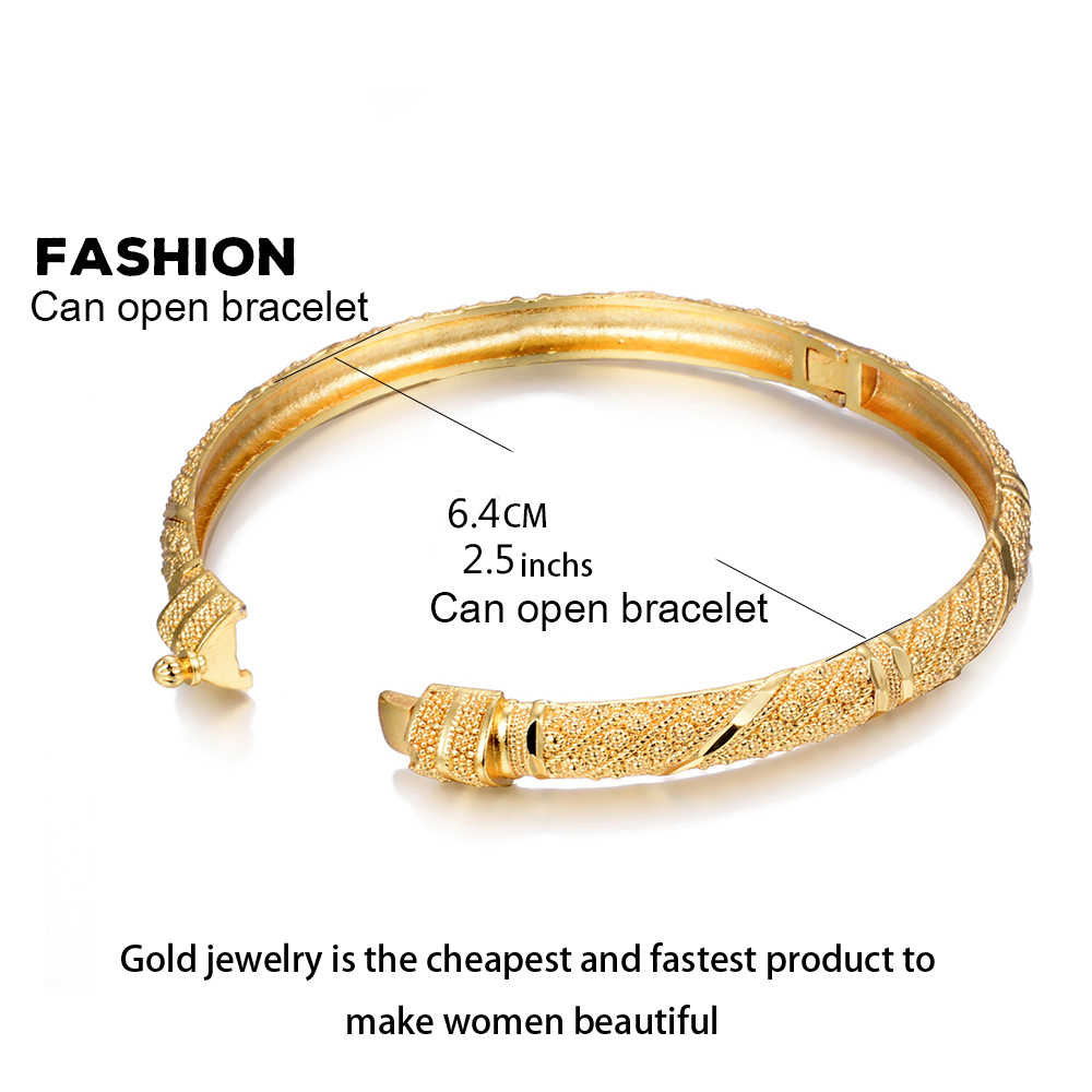 Wando อินเทรนด์ 24K Gold สีกำไลข้อมือสำหรับผู้หญิง/สาวพิเศษดูไบงานแต่งงานเจ้าสาวสร้อยข้อมือ Ramadan ตะวันออกกลางเครื่องประดับสามารถเปิด B22