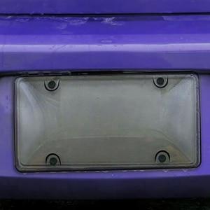 Image 5 - License Plate Frame Black Carbon Fiber / Transparent Number Plate TAG Protector Cover for Front Rear Bracket Car Accessories