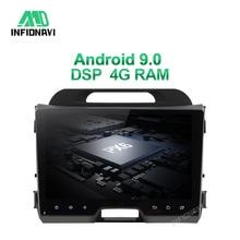 Автомагнитола с dvd плеером, 4G RAM, DSP, android 9,0 для KIA sportage 2010 2015