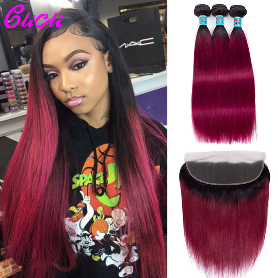 Peruvian Hair Bundles With Frontal 1b Burgundy Ombre Straight Remy Human Hair 3 Bundles With 13x4 Lace Closure 150% Density