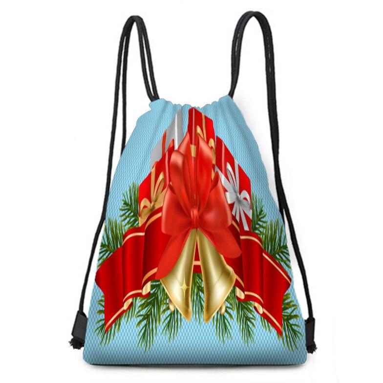 Christmas Bell Ribbon Gift Bag Jewelry Printing Blue Bundle Pocket