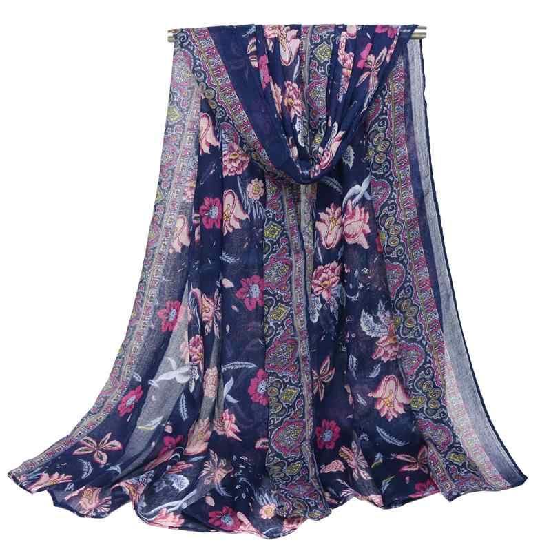 UACY ブランド高品質ボイル花青と白の磁器大ロングスカーフスカーフビーチタオル