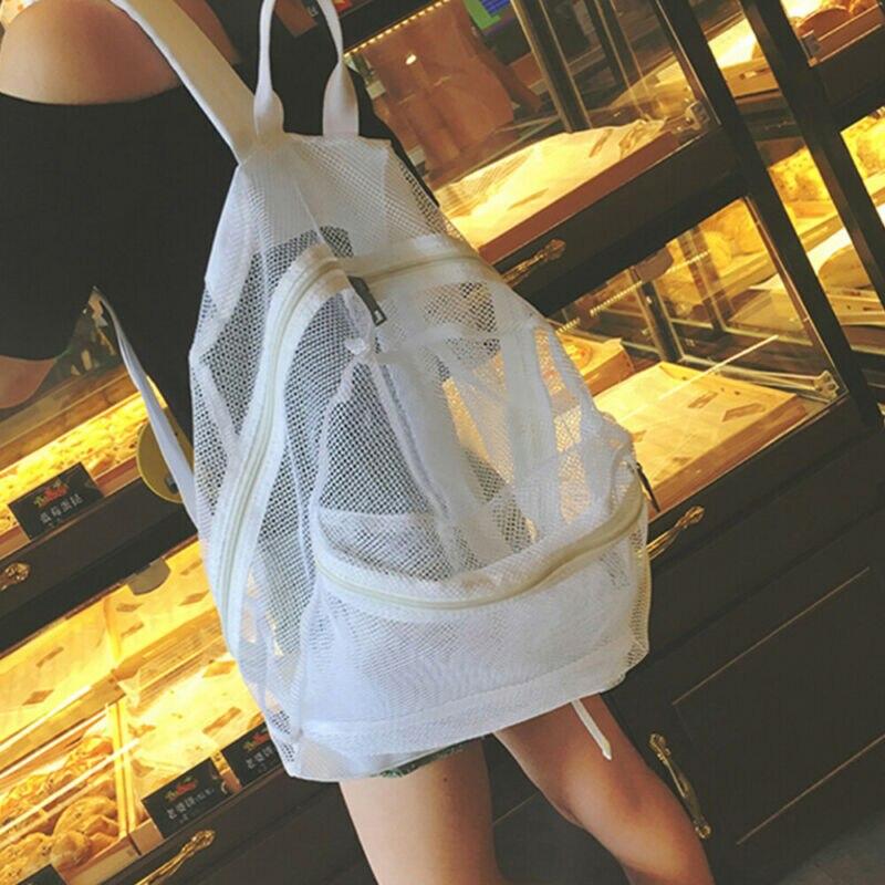 Women Men See Through Mesh Backpack Padded Straps School Travel Composite Bag Outside Zippered Pocket Pack Large Travel Bag