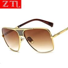 ZT Big Frame Vintage Men Square Sunglasses Women Brand Designer Golden Frame Man Pilot Sun Glasses UV400 Retro Sunglasses все цены