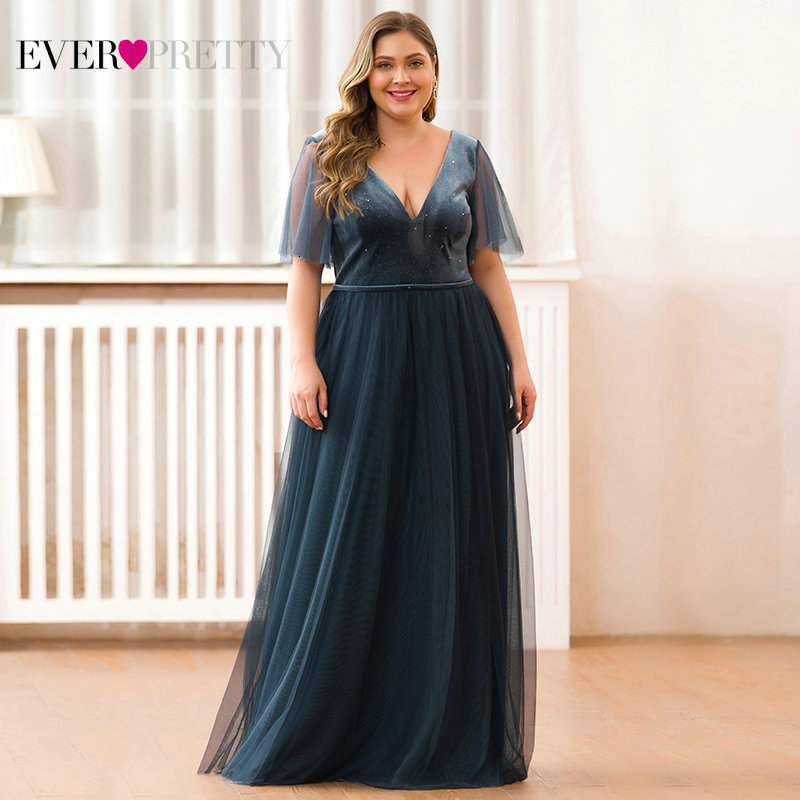 Plus Size Sparkle Velour Evening Dresses Ever Pretty EP00889DN Deep V-Neck Short Sleeve Tulle Evening Gowns Robes Soiree 2020