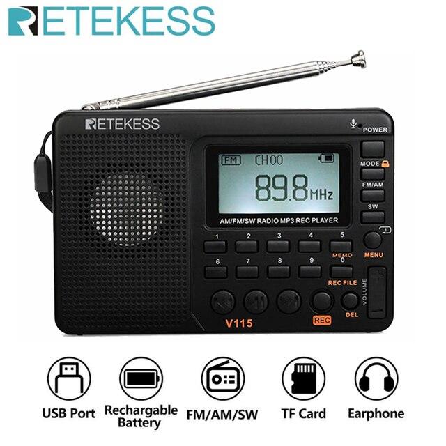 RETEKESS V115 Radio AM FM SW Pocket Radio Shortwave FM Speaker Support TF Card USB REC Recorder Sleep Time