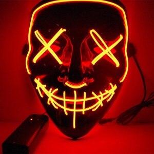 Maska led zimna lampa błyskowa Grimace fluorescencyjna straszna maska z kontrolerem świecące w ciemności Party maska na halloween Horror