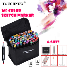 цена на TOUCHNEW Art Markers Pen Set Sketch Marker Alcohol Ink Brush Dual Tips Professional Drawing Marker Set 30/40/60/80/168 Color
