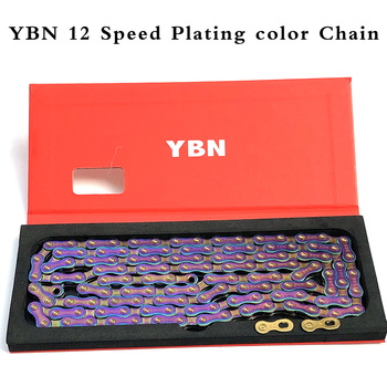 YBN Bicycle Chain 12 Speed Plating Color MTB Mountain Road Bike Chain For SRAM Shimano Campanolo System ybn bicycle titanium ultralight chains mtb mountain road bike 11 speed bicycle chain 116 links for shimano campanolo sram system