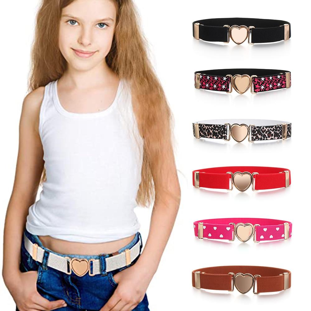 Модные Разноцветные Детские эластичные ремни, регулируемые платья для девочек, эластичный пояс в форме сердца, аксессуары для украшения од...