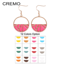 Cremo Rose Gold Earrings for Women Interchangeable Leather Round Pendant Dangle Stainless Steel Geometric Earring