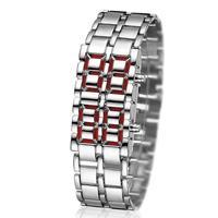 Plancha de Lava Samurai-reloj de acero inoxidable para hombre, pulsera electrónica de lujo con pantalla LED, diseño electrónico deportivo