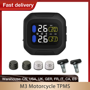 Image 1 - M3 Waterproof Motorcycle Real Time Tire Pressure Monitoring System TPMS Wireless LCD Display Internal or External TH/WI Sensors
