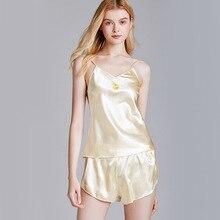 2020 New Satin Pajamas Embroidery Fruit Women Sleep Set V-neck Silky Suspender S